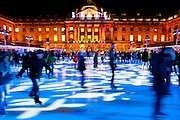 The ice rink at Somerset House is now a traditional pre-christmas skating experience. Aldwych, London, UK.