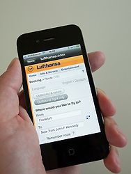Booking flight with Lufthansa airline on an iPhone 4G smart phone