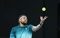MELBOURNE, Jan. 17, 2019  Jo-Wilfried Tsonga of France serves the ball during the men's singles second round match against Novak Djokovic of Serbia at the Australian Open in Melbourne, Australia, Jan. 17, 2019. (Credit Image: © Bai Xuefei/Xinhua via ZUMA Wire)