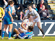 Hannah Gallagher and Ruth Laybourn celebrate Hannah's try, England Women v Italy Women in Women's 6 Nations Match at Twickenham Stoop, Twickenham, England, on 15th February 2015. Final score 39-7.