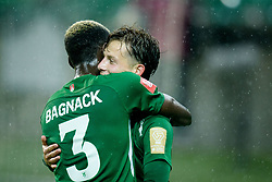 Macky Bagnack, Stefan Savic of Olimpija celebrate during football match between NK Olimpija Ljubljana and NK Aluminij in semi final of Slovenian Cup 2018/19, on April 23, 2019 in Stozice Stadium, Ljubljana, Slovenia. Photo by Morgan Kristan