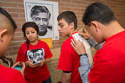 Chavez High School students participate in a game teaching facts about Cesar Chavez, March 27, 2014.