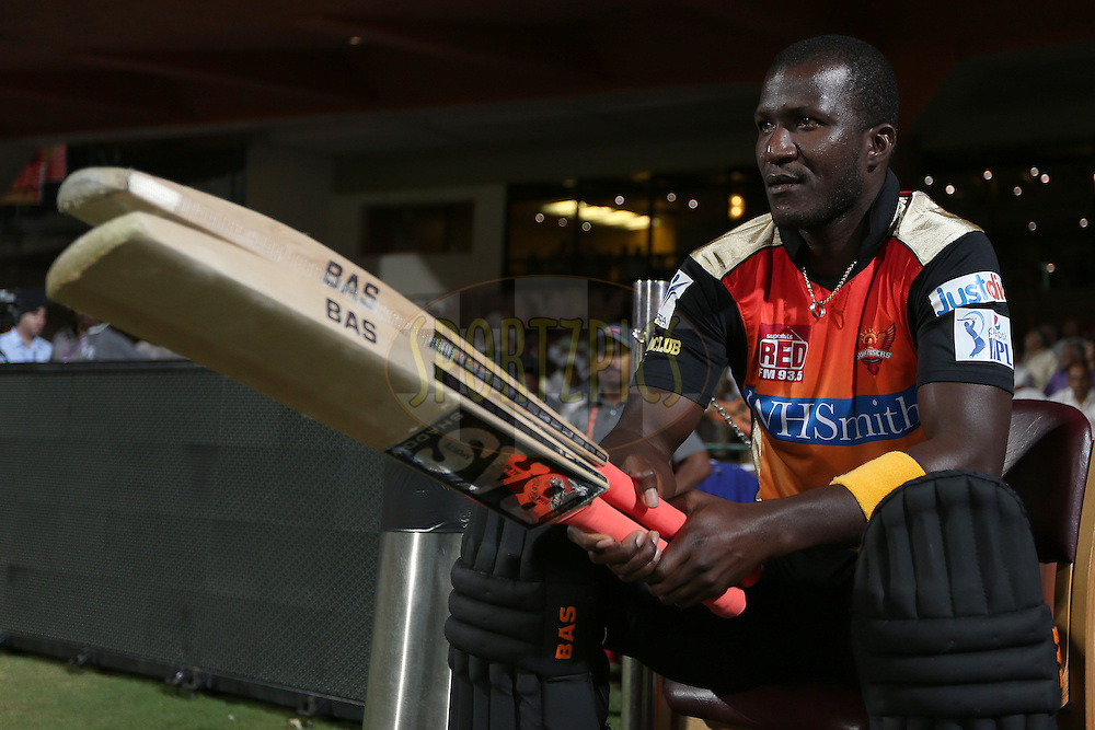 Darren Sammy during match 24 of the Pepsi Indian Premier League Season 2014 between the Royal Challengers Bangalore and the Sunrisers Hyderabad held at the M. Chinnaswamy Stadium, Bangalore, India on the 4th May 2014. Photo by Jacques Rossouw / IPL / SPORTZPICS<br /> <br /> <br /> <br /> Image use subject to terms and conditions which can be found here:  http://sportzpics.photoshelter.com/gallery/Pepsi-IPL-Image-terms-and-conditions/G00004VW1IVJ.gB0/C0000TScjhBM6ikg