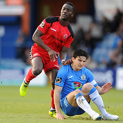 TELFORD COPYRIGHT MIKE SHERIDAN 16/2/2019 - Dan Udoh of AFC Telford and Ash Palmer (CAPTION CORRECTED) of Stockport during the Vanarama Conference North fixture between Stockport County and AFC Telford United at Edgeley Park