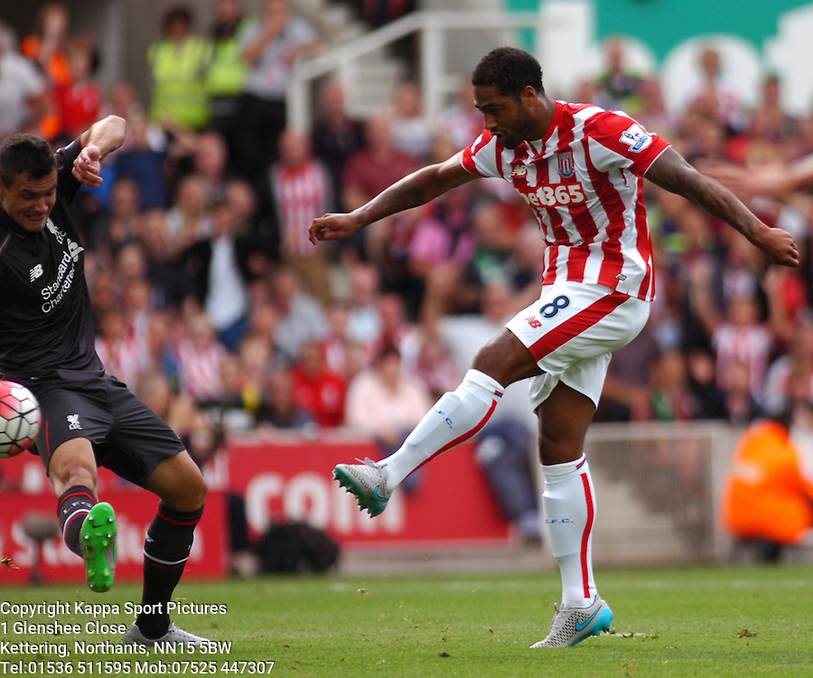 STOKES GLEN JOHNSON ATTACKS LIVERPOOL, Stoke City v Liverpool, Premiership, Britannia Stadium Sunday 9th August 2015