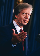 President Jimmy Carter speaks during a presidential press conference in the Old Executive Office Building in Washington,D.C. - 1978 - To license this image, click on the shopping cart below -