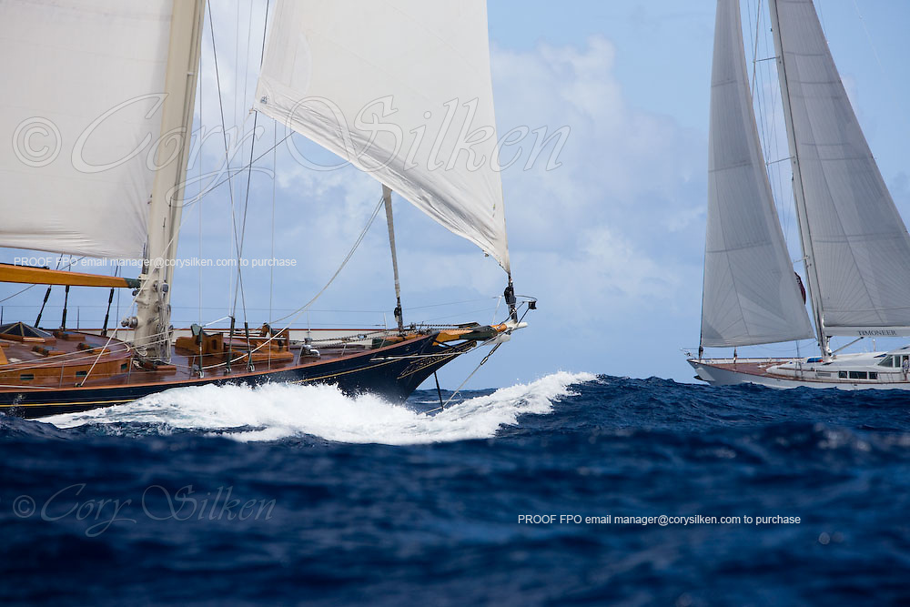 Signe and Timoneer racing at the Superyacht Cup Regatta.