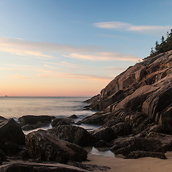 Dawn over the Atlantic Ocean in Maine's Acadia National Park. Sand Beach.