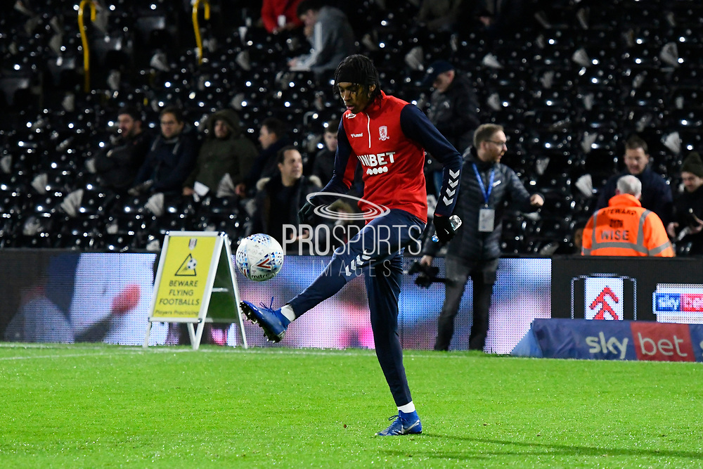 Lukas Nmecha (20) of Middlesbrough warming up ahead of the EFL Sky Bet Championship match between Fulham and Middlesbrough at Craven Cottage, London, England on 17 January 2020.