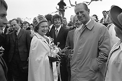 27/06/1978. Queen Elizabeth II and the Duke of Edinburgh on the jetty at Maseline harbour during their visit to the island of Sark, Channel Islands. The Royal couple will celebrate their platinum wedding anniversary on November 20.
