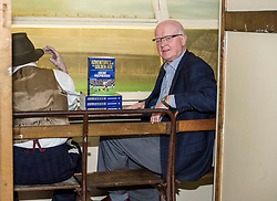 Pictured: Archie MacPherson<br /> Veteran commentator Archie MacPherson was at Hampden Park today as he announced the publication of his latest book:  Adventures in the Golden Age - Scotland in the World Cup Finals 1974-1998, due to be published on 26 April  MacPherson was joined by former and  current Scotland manager Craig Brown and Alex McLeish respectivly  along with ex-Celtic, Arsenal and Scotland player Charlie Nicholas who was Archie's co-commentator at the Mexico World Cup. <br /> <br /> Ger Harley | EEm 25 April 2018