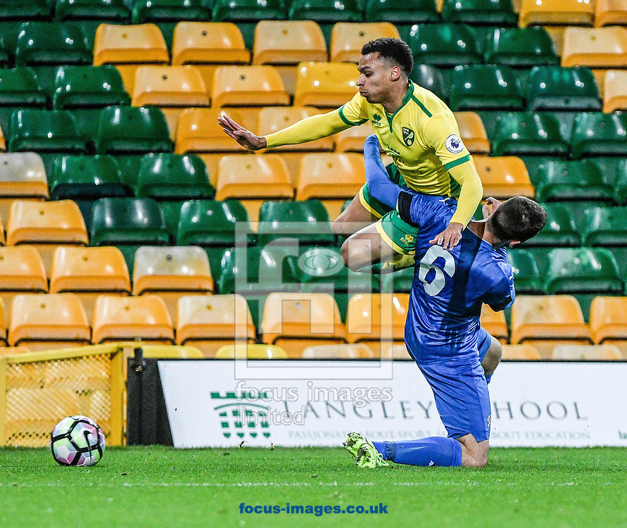 Joshua Murphy get fouled for Norwich City U23 v Dinamo Zagreb U23 during the Premier League International Cup Quarter-Final match at Carrow Road, Norwich<br /> Picture by Matthew Usher/Focus Images Ltd +44 7902 242054<br /> 27/02/2017