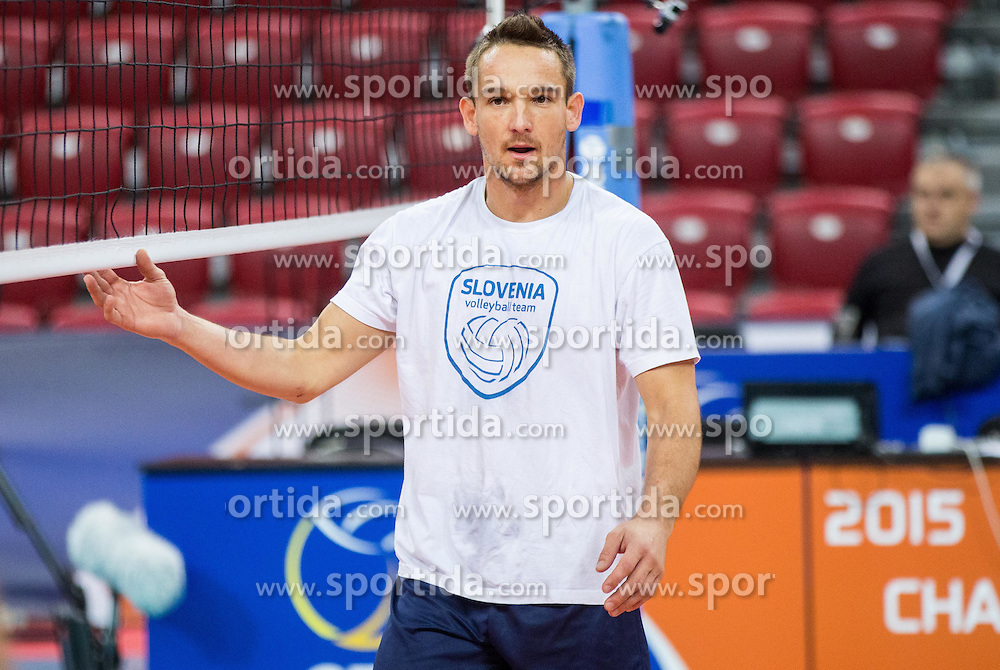 Miha Plot #8 of Slovenia during practice session of Slovenian National Volleyball team in the morning before Semifinal match against Italy at 2015 CEV Volleyball European Championship - Men, on October 17, 2015 in Arena Armeec, Sofia, Bulgaria. Photo by Vid Ponikvar / Sportida