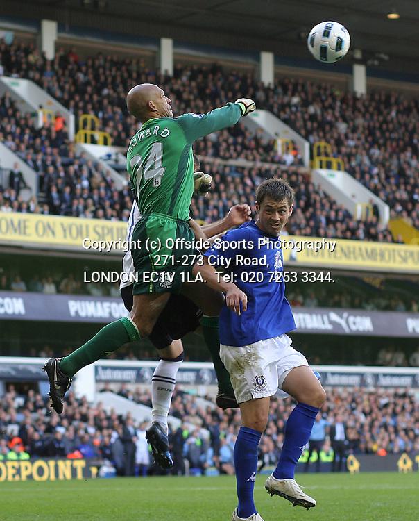 23/10/2010 Premier League football. Tottenham Hotspur v Everton.<br /> Diniyar Bilyaletdinov dtands and supports his goalkeeper Tim Howard as he punches clear.<br /> Photo: Mark Leech.