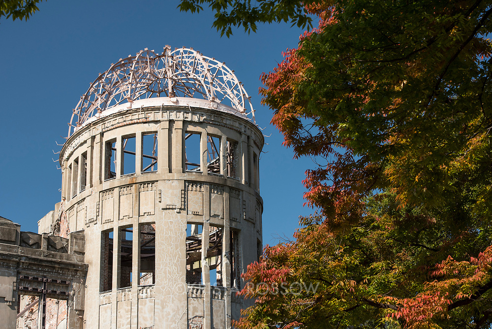 The Genbaku Dome at the Hiroshima Peace Memorial is the only structure left standing near the hypocenter of the first atomic bomb which exploded on August 6th, 1945. It remains in the condition right after the explosion and is listed as a UNESCO World Heritage Site. Hiroshima, Japan.