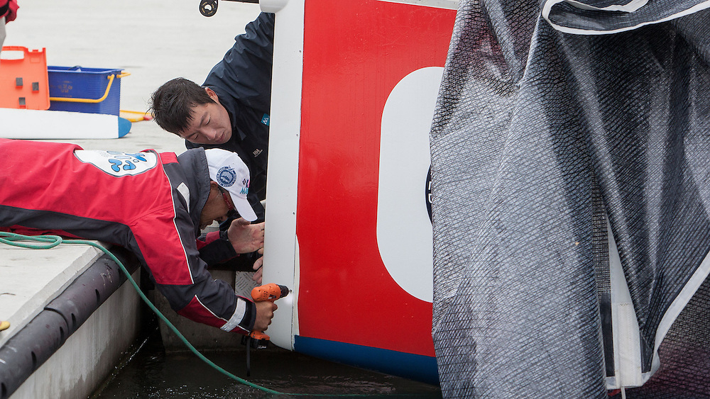 Damage repairs at Korea Match Cup 2013. Gyeonggi Province, Korea. 29 May 2013 Photo: Subzero Images/AWMRT