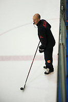 PENTICTON, CANADA - SEPTEMBER 9: Calgary Flames' head coach Ryan Huska stands on the ice during morning skate on September 9, 2017 at the South Okanagan Event Centre in Penticton, British Columbia, Canada.  (Photo by Marissa Baecker/Shoot the Breeze)  *** Local Caption ***