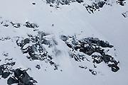 Verbier, Switzerland. March 20th 2010..X-Trem Verbier 2010 - Freeride World Tour.Bec des Rosses from Col des Gentianes.Norwegian snowboarder Vivian Aasen