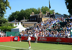 Natalia Vikhlyantseva in action during day one of the Aspall Classic at the Hurlingham Club, London.