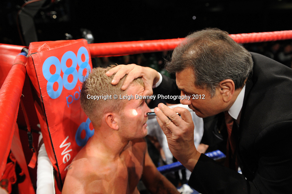 Ryan Taylor defeats Robin Deakin (Robin gets checked by Doctor following the fight) in a 4x3min Lightweight contest on the 28th January 2012 at York Hall, Bethnal Green, London. Matchroom Sport. © Leigh Dawney Photography 2012.
