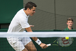 LONDON, ENGLAND - Wednesday, July 6, 2016:   Milos Raonic (CAN) during the Gentlemen's Single Quarter Final match on day ten of the Wimbledon Lawn Tennis Championships at the All England Lawn Tennis and Croquet Club. (Pic by Kirsten Holst/Propaganda)