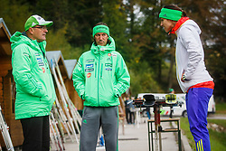 Stane Baloh, Primoz Peterka and Maja Vtic during national competition in Ski Jumping, 8th of October, 2016, Kranj,  Slovenia. Photo by Grega Valancic / Sportida