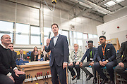 © Licensed to London News Pictures. 13/04/2015. Maidstone, UK Liberal Democrat Leader and Deputy Prime Minister Nick Clegg joins Liberal Democrat Candidate  for Maidstone, Jasper Gerard, on a visit to Mid-Kent College where they held a Q&A session with young apprentices and their local employers. Photo credit : Stephen Simpson/LNP