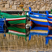 Colorful  boats at Ortygia, Italy