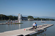 Plovdiv BULGARIA. 2017 FISA. Rowing World U23 Championships. <br /> ITA BW2X, preparing to boat for a training outing. <br /> Wednesday. AM, general Views, Course, Boat Area<br /> 08:55:59  Wednesday  19.07.17   <br /> <br /> [Mandatory Credit. Peter SPURRIER/Intersport Images].