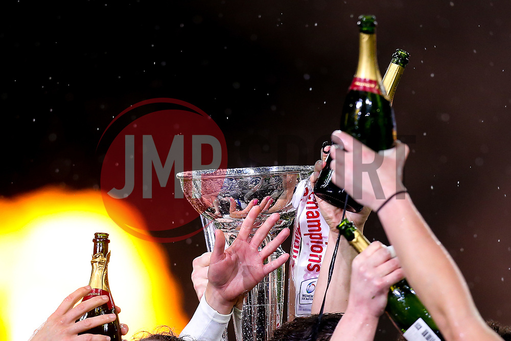 England Women celebrate winning the Women's Six Nations and Grand Slam by raising the trophy and champagne bottles in the air - Mandatory by-line: Robbie Stephenson/JMP - 16/03/2019 - RUGBY - Twickenham Stadium - London, England - England Women v Scotland Women - Women's Six Nations