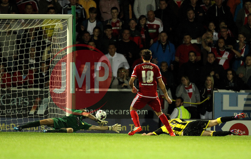 Christian Stuani of Middlesbrough scores - Mandatory byline: Robbie Stephenson/JMP - 07966386802 - 25/08/2015 - FOOTBALL - Pirelli Stadium -Burton,England - Burton Albion v Middlesbrough - Capital One Cup - Second Round