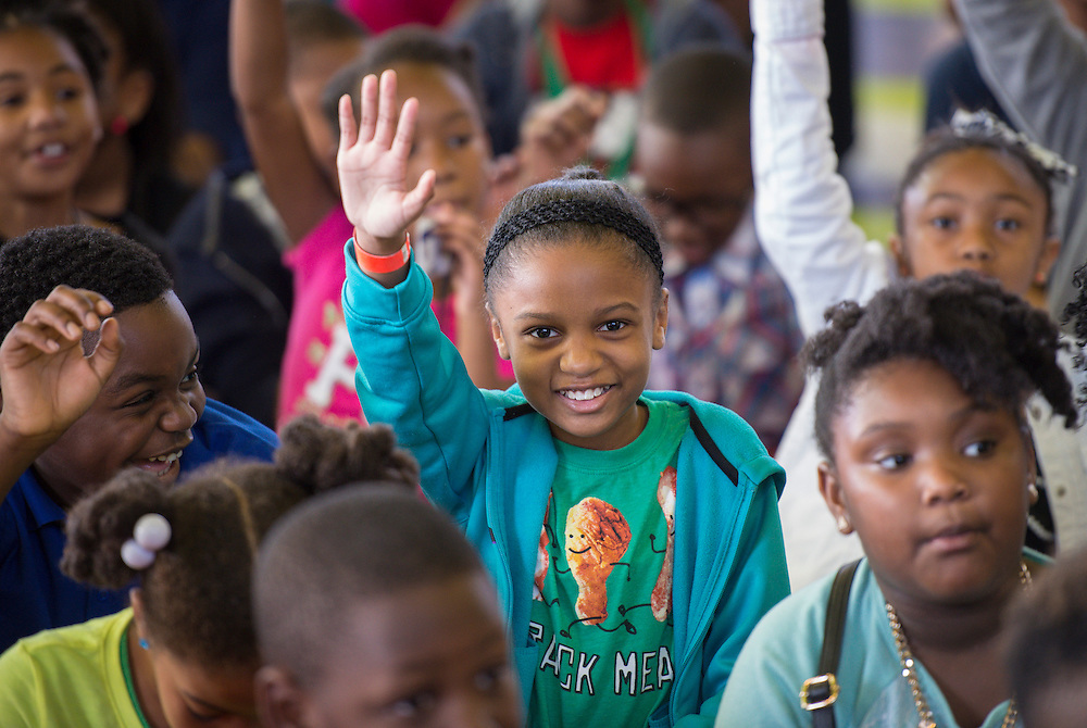 Lockhart Elementary School students react to their principal Felicia Adams being named a finalist in the HEB Excellence in Education Awards, April 4, 2014.