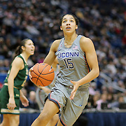 HARTFORD, CONNECTICUT- JANUARY 10: Gabby Williams #15 of the Connecticut Huskies drives to the basket during the the UConn Huskies Vs USF Bulls, NCAA Women's Basketball game on January 10th, 2017 at the XL Center, Hartford, Connecticut. (Photo by Tim Clayton/Corbis via Getty Images)