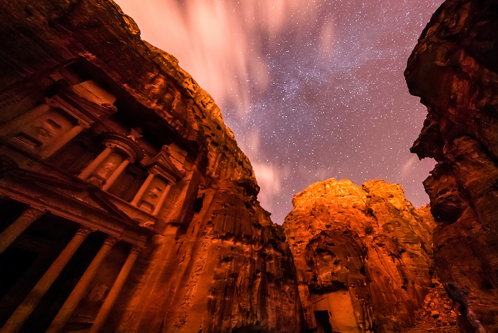 The Treasury, Petra Archaeological Park, with a starry sky overhead, Jordan.