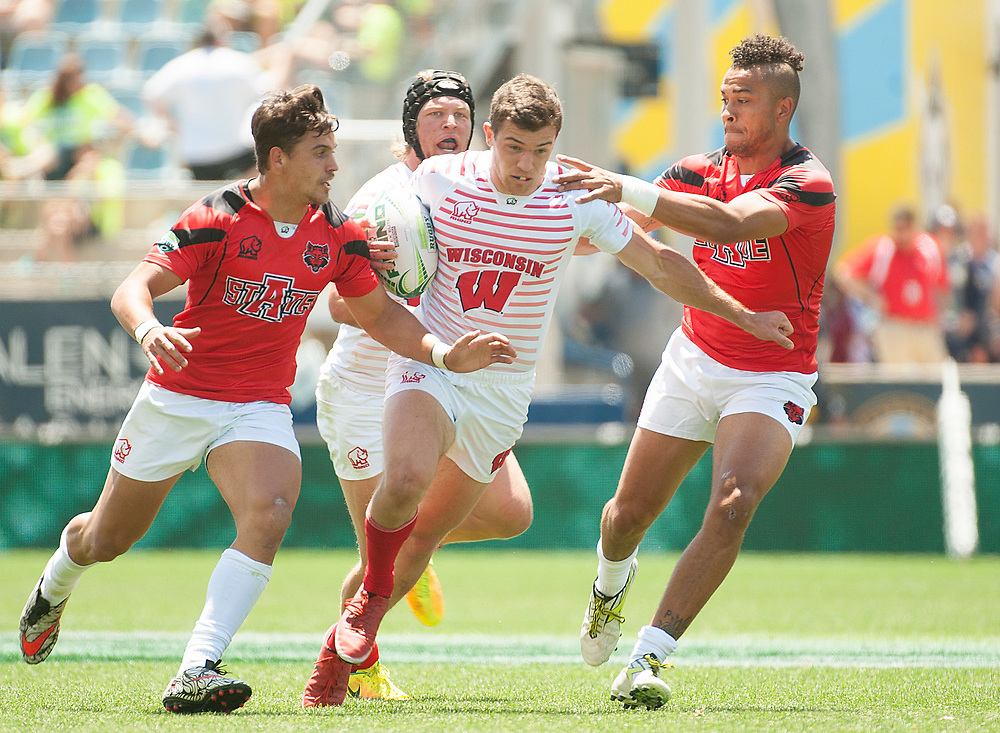 Wisconsin and Arkansas State compete in pool play of the 2017 Penn Mutual Collegiate Rugby Championship at Talen Energy Stadium in Philadelphia. June 3, 2017. <br /> <br /> By Jack Megaw.<br /> <br /> www.jackmegaw.com<br /> <br /> jack@jackmegaw.com<br /> @jackmegawphoto<br /> [US] +1 610.764.3094<br /> [UK] +44 07481 764811
