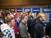 12 DECEMBER 2019 - DES MOINES, IOWA: People wait for Andrew Yang at the opening of his office in Ames, IA. Yang, an entrepreneur, is running for the Democratic nomination for the US Presidency in 2020. He brought bus tour to Ames, IA, Thursday. Iowa hosts the the first election event of the presidential election cycle. The Iowa Caucuses will be on Feb. 3, 2020.             PHOTO BY JACK KURTZ
