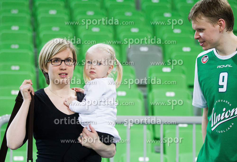 Teemu Rannikko of Union Olimpija with his wife and kid  during basketball match between KK Union Olimpija Ljubljana and KK Helios Domzale in Game #1 of Slovenian National Championship - Telemach League 2012/2013, on March 27, 2013, in Arena Stozice, Ljubljana, Slovenia. Union Olimpija defeated Helios Domzale 77-63. (Photo by Vid Ponikvar / Sportida.com)