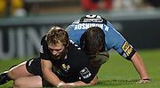 2005/06 Powergen Cup, London Wasps vs Cardiff Blues, Wasps Josh Lewsey, after clashing with Nick Robinson.   Causeway Stadium, Wycome, ENGLAND, 07.10.2005   © Peter Spurrier/Intersport Images - email images@intersport-images..   [Mandatory Credit, Peter Spurier/ Intersport Images].