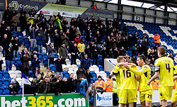COLCHESTER, ENGLAND - Saturday, February 23, 2013: Tranmere Rovers' traveling supporters celebrate their side's fourth goal against Colchester United during the Football League One match at the Colchester Community Stadium. (Pic by Vegard Grott/Propaganda)