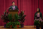 Houston ISD Superintendent Richard Carranza comments during a renaming ceremony at Bob Lanier Middle School, September 21, 2016.