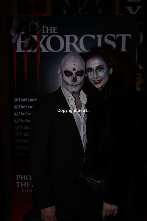 London, UK. 31st October 2017. A couple facepainting of Halloween attend to celebrate the West End premiere of The Exorcist, directed by Sean Mathias an opening night on Halloween at Phoenix Theatre.
