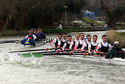 The Lent Bumps on the River Cambridge ..Mens 2nd division race, Girton College (in front), March 2, 2000. Photo by Andrew Parsons / i-images..
