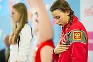 EYOF 2013 Zwemmen Krommerijn Utrecht. Prijsuitreiking 100m vrijeslag (L-R) Marrit Steenbergen (NED), Arina Openysheva (RUS)