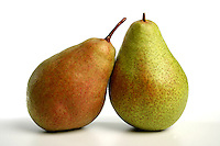 Two pears on white background