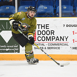 "TRENTON, ON  - MAY 4,  2017: Canadian Junior Hockey League, Central Canadian Jr. ""A"" Championship. The Dudley Hewitt Cup. Game 5 between Powassan Voodoos and the Georgetown Raiders. Tyson Gilmour #23 of the Powassan Voodoos skates with the puck during the second period.<br /> (Photo by Andy Corneau / OJHL Images)"