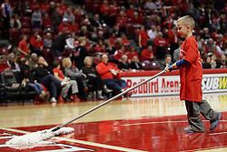 21 November 2015: Broom boy. Illinois State Redbirds host the Houston Baptist Huskies at Redbird Arena in Normal Illinois (Photo by Alan Look)
