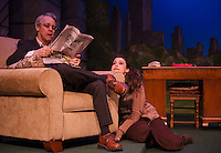 "Richard Brundage as Greg sits and reads the paper with Rachel Broadwell as Sylvia during Wednesday's dress rehearsal for ""Sylvia"" with the Winnipesaukee Playhouse.  (Karen Bobotas/for the Laconia Daily Sun)"