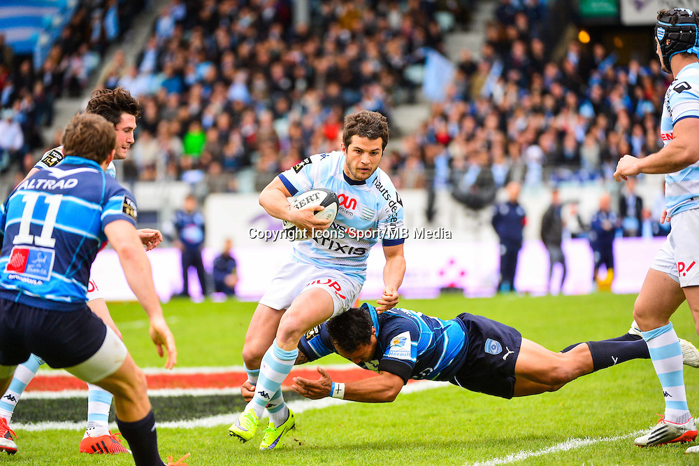 Brice DULIN / Anthony TUITAVAKE  - 11.04.2015 - Racing Metro / Montpellier  - 22eme journee de Top 14 <br />Photo : Dave Winter / Icon Sport