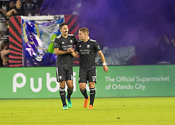April 21, 2018 - Orlando, FL, U.S. - ORLANDO, FL - APRIL 21: Orlando City midfielder Sacha Kljestan (16) celebrates his goal with Orlando City forward Chris Mueller (17) during the MLS soccer match between the Orlando City FC and the San Jose Earthquakes at Orlando City SC on April 21, 2018 at Orlando City Stadium in Orlando, FL. (Photo by Andrew Bershaw/Icon Sportswire) (Credit Image: © Andrew Bershaw/Icon SMI via ZUMA Press)