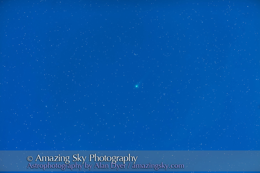 Comet Lovejoy (C/2013 R1) in the pre-dawn sky with a waning gibbous Moon lighting the sky, on the morning off November 21, 2013. This is a stack of 5 x 75 second exposures with the 135mm lens at f/2.8 and Canon 5D MkII at ISO 1600, tracking on the iOptron SkyTracker.